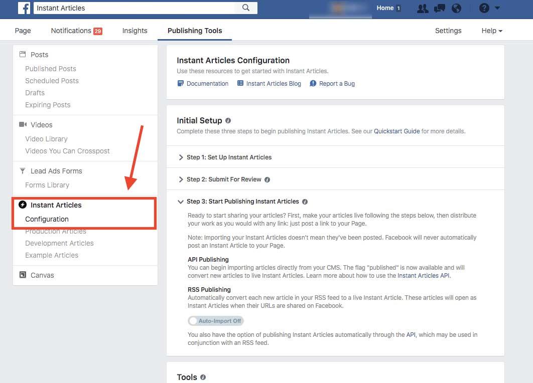 Facebook Instant Articles Configuration