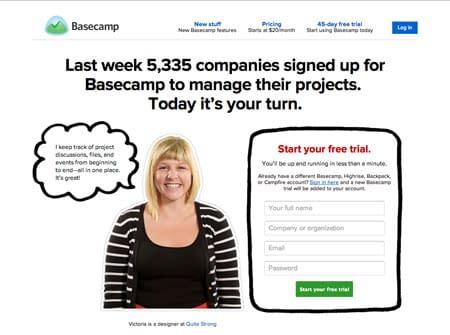 basecamp landing page