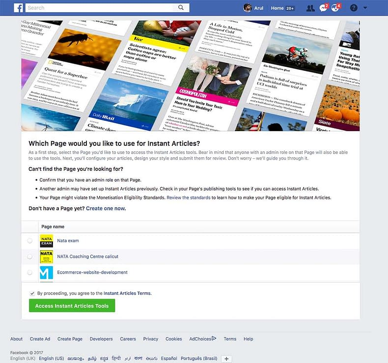 Facebook Instant Articles sign up
